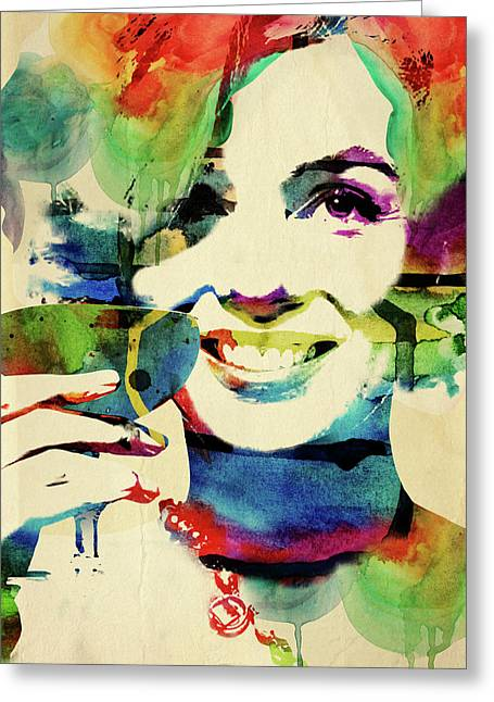 Marilyn And Her Drink Greeting Card by Mihaela Pater