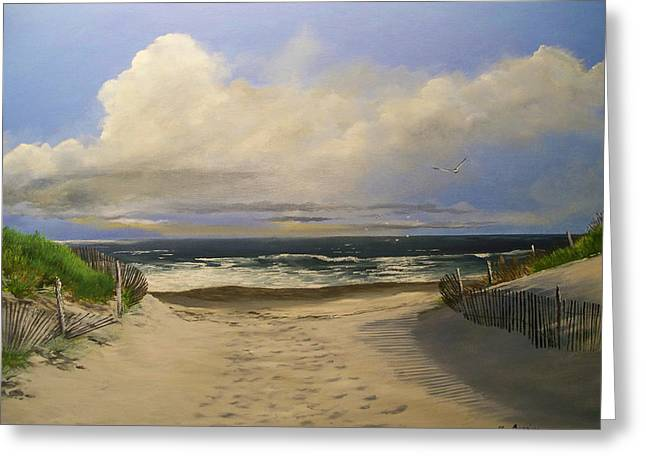 Greeting Card featuring the painting Mary's Beach by Ken Ahlering