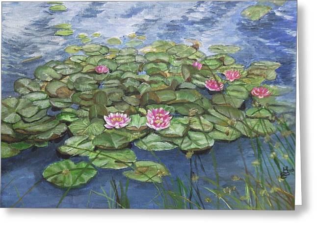 Maryse's Water Lilies Greeting Card by Kim Selig