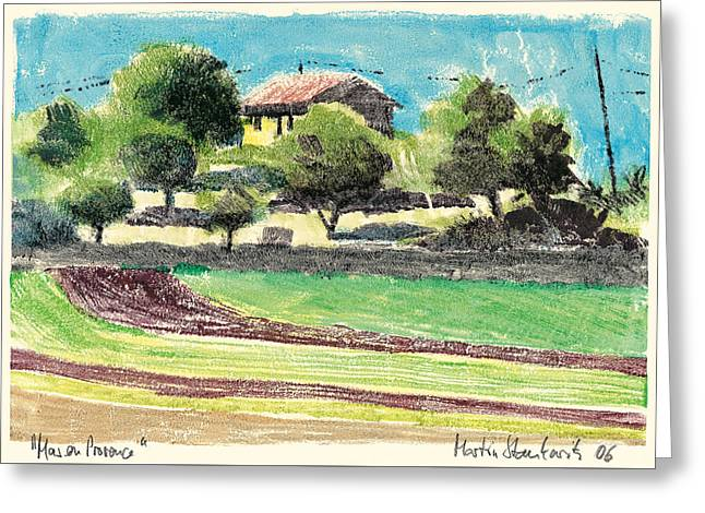 Greeting Card featuring the painting mas en Provence landscape by Martin Stankewitz