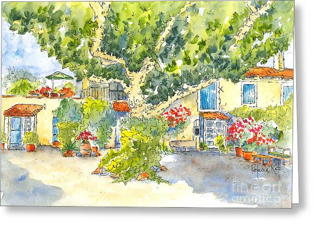 Mas St Antoine Courtyard 1 Greeting Card by Pat Katz