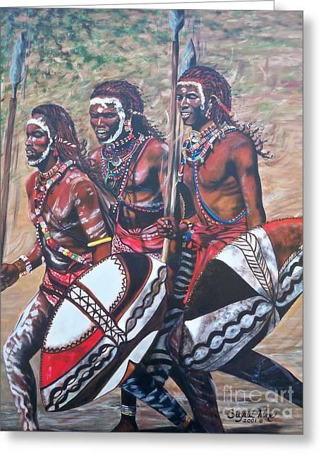 Blaa Kattproduksjoner       Masaai Warriors Greeting Card