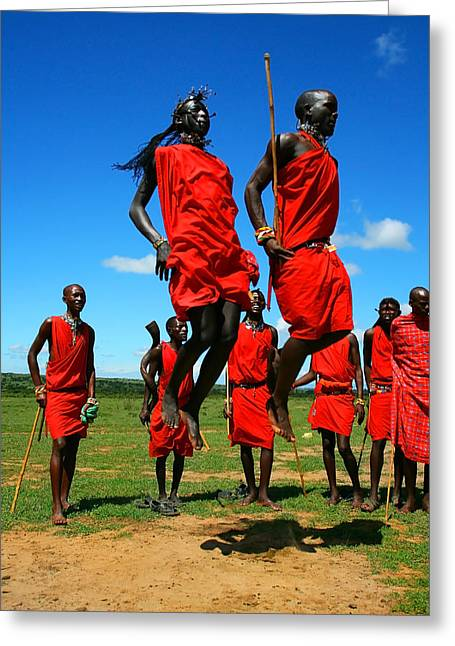 Masai Warrior Dancing Traditional Dance Greeting Card