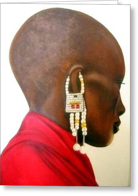 Masai Woman - Original Artwork Greeting Card
