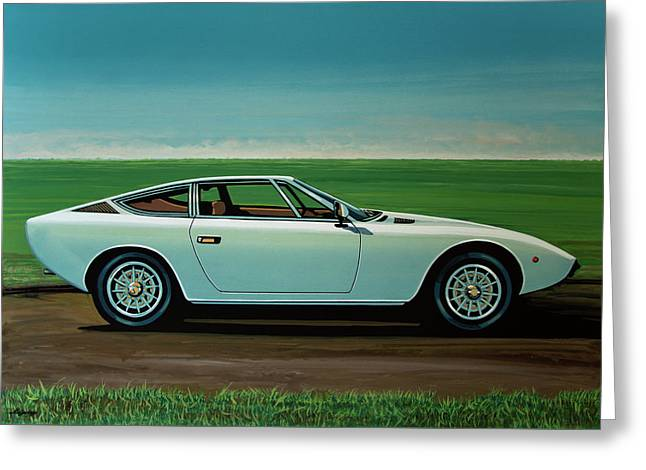 Maserati Khamsin 1974 Painting Greeting Card