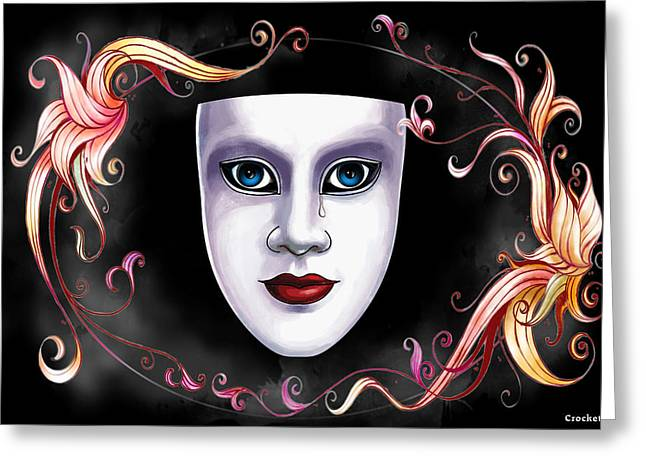 Mask And Vines Greeting Card by Gary Crockett