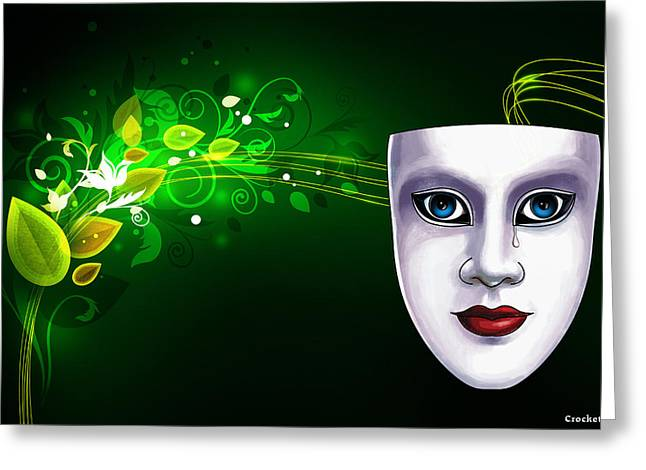 Mask Blue Eyes On Green Vines Greeting Card by Gary Crockett