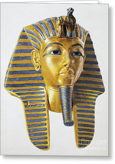 Mask Of The Egyptian Pharaoh Tutankhamen Greeting Card by Egyptian School