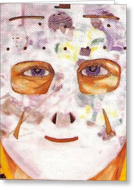 Mask Refection Greeting Card by Ken Yackel