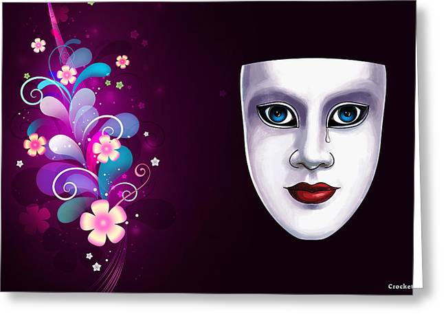 Mask With Blue Eyes Floral Design Greeting Card by Gary Crockett