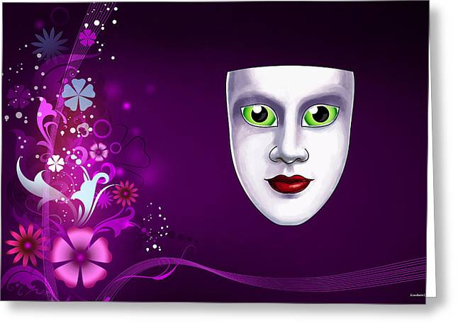 Greeting Card featuring the photograph Mask With Green Eyes On Pink Floral Background by Gary Crockett