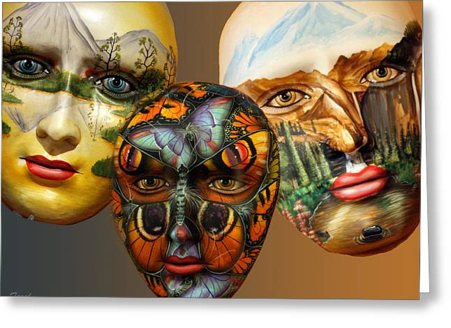 Masks On The Wall Greeting Card