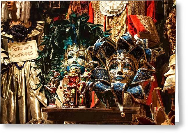Impressions Of Venice - Venetian Carnival Masks Display Greeting Card by Georgia Mizuleva