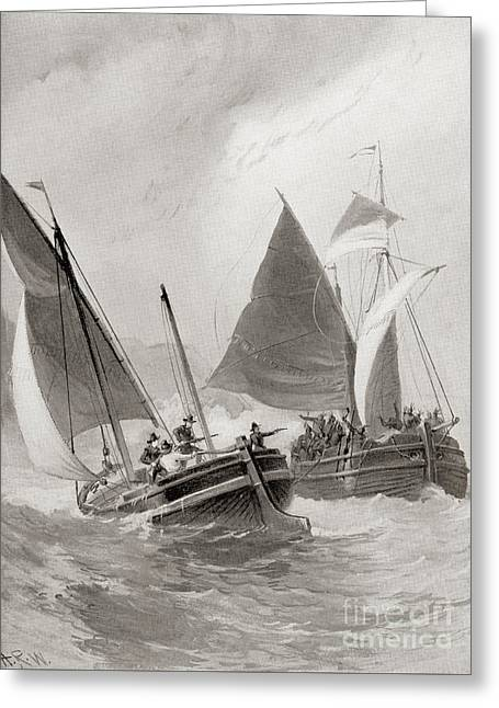 Mason And Gallop Attacking The Indians Off Block Island Greeting Card