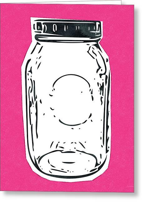 Mason Jar Hot Pink- Art By Linda Woods Greeting Card by Linda Woods