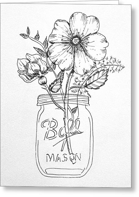 Mason Jar With Flowers Greeting Card by Kelly Bowers