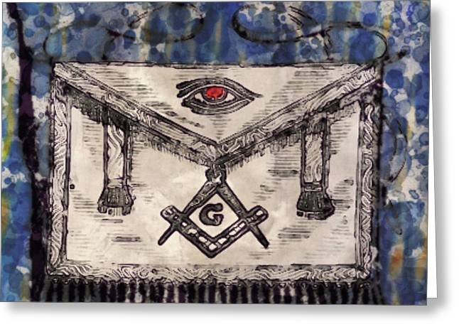 Masonic Apron And Symbols By Raphael Terra And Mary Bassett Greeting Card