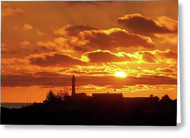Greeting Card featuring the photograph Maspalomas Sunset Panorama by Marc Huebner