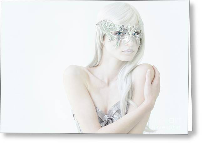 Masquerade In White Greeting Card by Diane Diederich