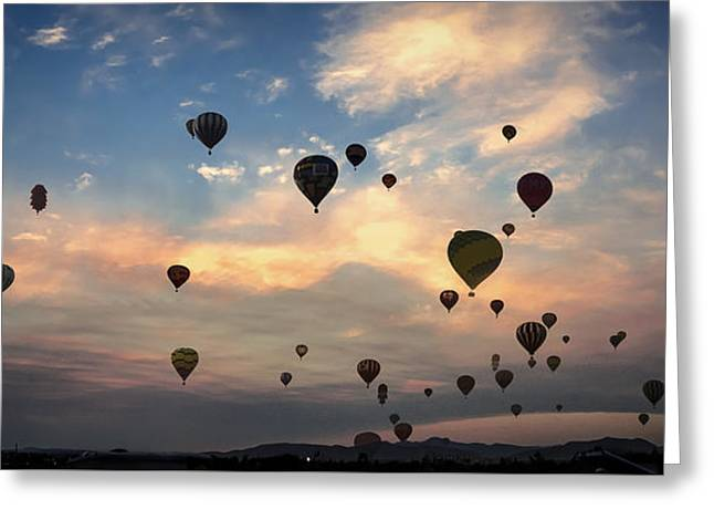 Mass Ascension Pano Greeting Card by Rick Mosher