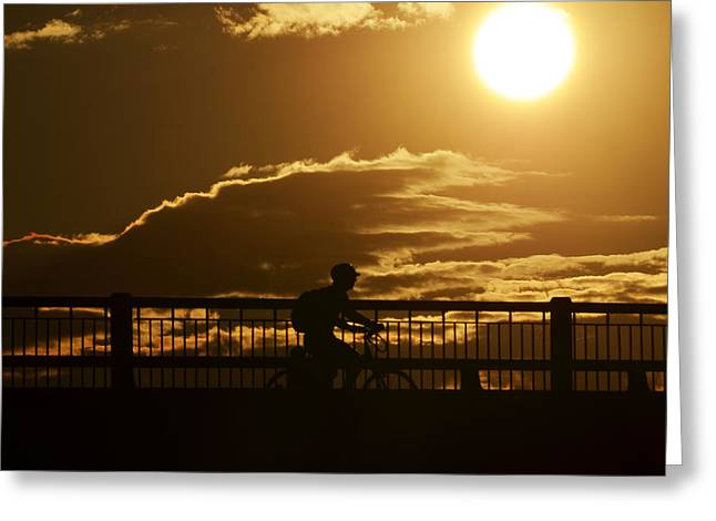 Mass Ave Bridge Cyclist Boston Ma Greeting Card by Toby McGuire