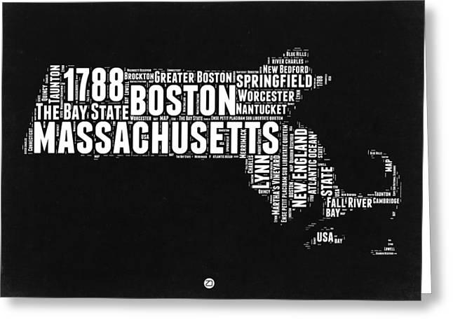 Massachusetts Black And White Word Cloud Map Greeting Card by Naxart Studio