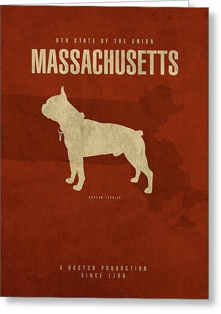 Massachusetts State Facts Minimalist Movie Poster Art Greeting Card