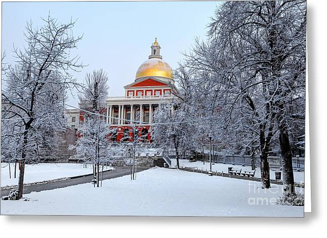 Massachusetts State House In Winter Greeting Card by Denis Tangney Jr
