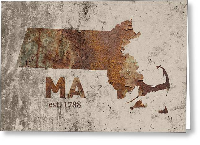 Massachusetts State Map Industrial Rusted Metal On Cement Wall With Founding Date Series 016 Greeting Card