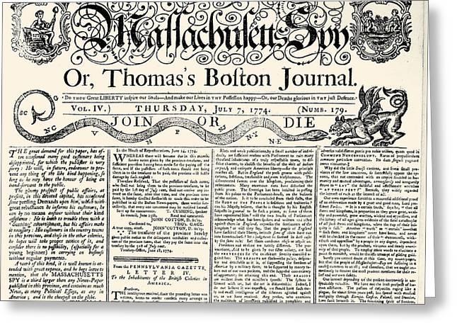 Massachusetts Sun, 1774 Greeting Card by Granger