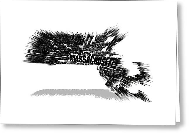 Massachusetts Typographic Map 5b Greeting Card by Brian Reaves