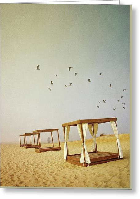 Massage Booths On A Foggy Beach Greeting Card by Carlos Caetano