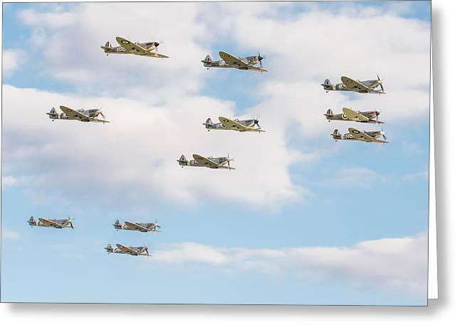 Massed Spitfires Greeting Card by Gary Eason