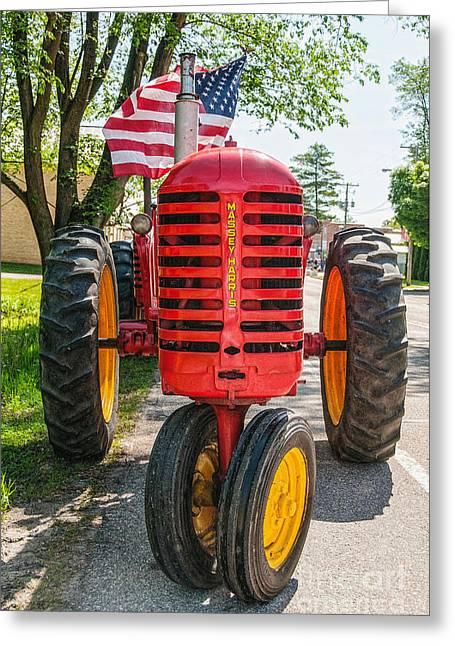 Massey Harris And Old Glory Greeting Card