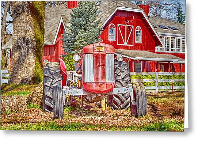 Masseytractor At Red Farm House Greeting Card by William Havle