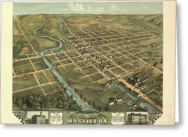 Massillon Ohio 1870 Greeting Card by Mountain Dreams