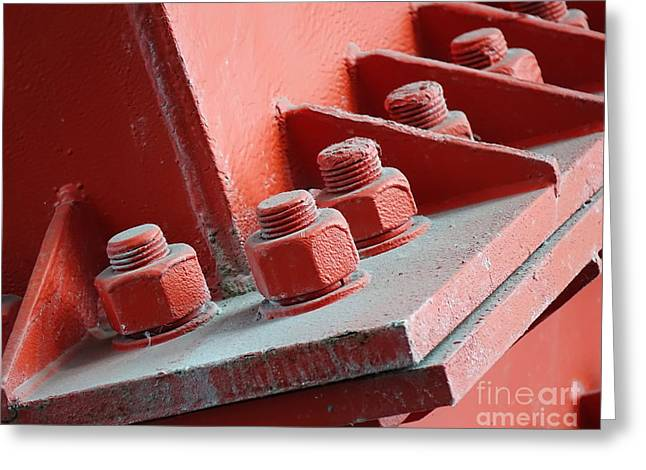 Greeting Card featuring the photograph Massive Bolts And Nuts by Yali Shi