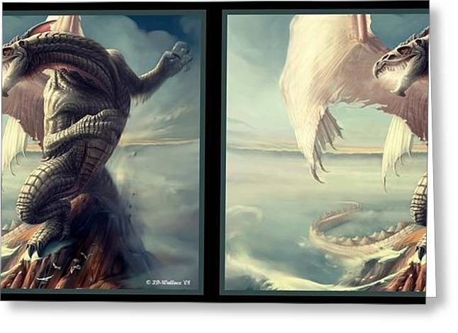 Massive Dragon - Gently Cross Your Eyes And Focus On The Middle Image Greeting Card by Brian Wallace