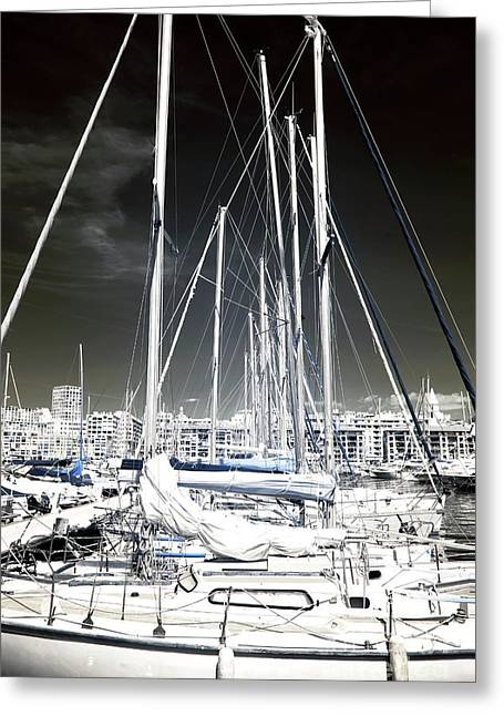 Mast Angles Greeting Card by John Rizzuto