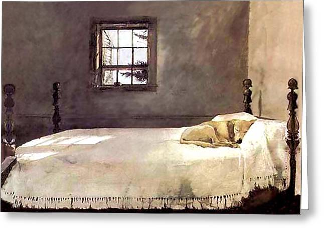 Greeting Card featuring the painting Master Bedroom  by Andrew Wyeth