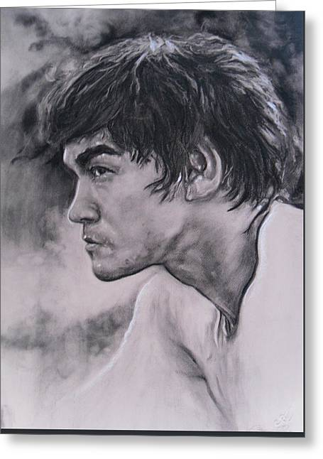 Master Bruce Lee Greeting Card by Adrienne Martino