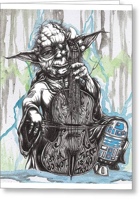Master Yoda Charms Baby R2 With The Soothing Sound Of His Homegrown Cello Greeting Card
