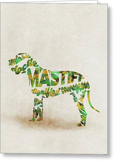 Mastiff Dog Watercolor Painting / Typographic Art Greeting Card