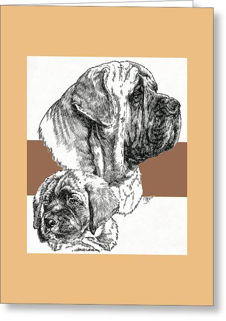 Mastiff Father And Son Greeting Card by Barbara Keith