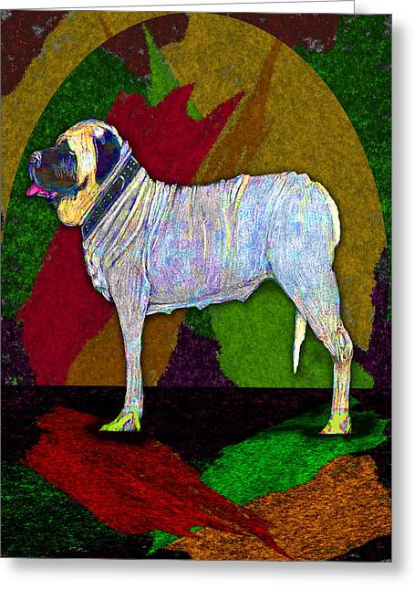 Greeting Card featuring the digital art Mastiffically Colorful by Michelle Audas
