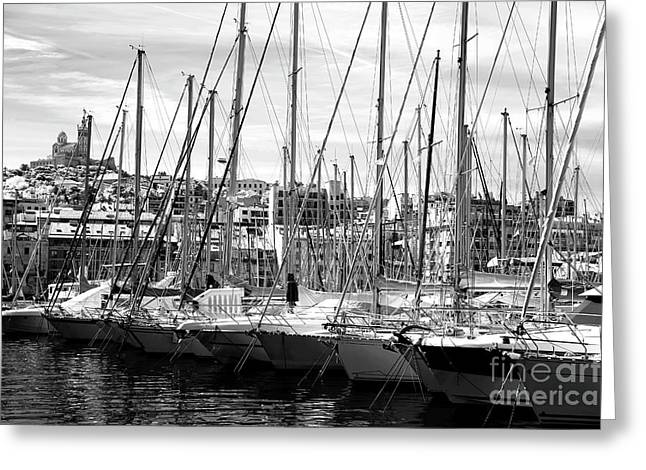 Masts In The Harbor Greeting Card by John Rizzuto