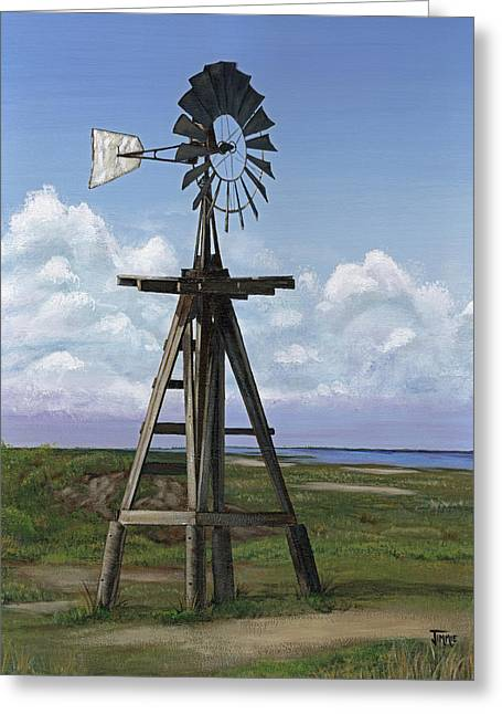 Greeting Card featuring the painting Matagorda Beach Windmill by Jimmie Bartlett
