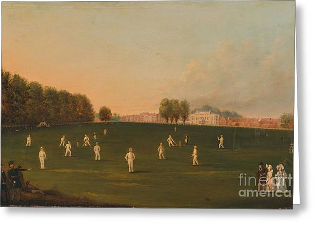 Match Of Cricket At Hampton Court Greeting Card by Celestial Images