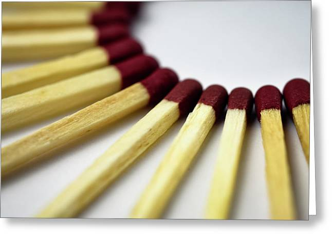 Matches Spread Over Semi Circle Greeting Card by Jozef Jankola