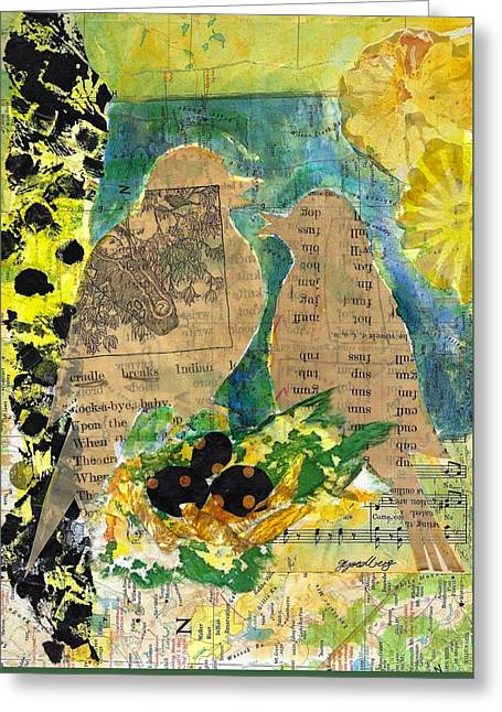 Greeting Card featuring the mixed media Mater And Pater by Jillian Goldberg